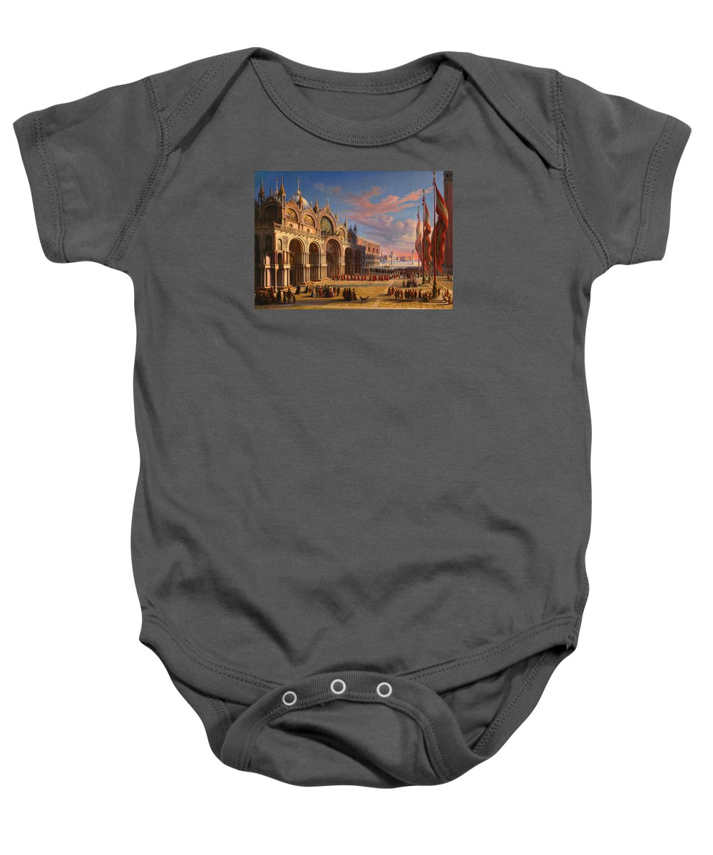 Carl Ludwig Rundt Baby Onesie featuring the painting Piazza Di San Marco. Venice by Carl Ludwig Rundt