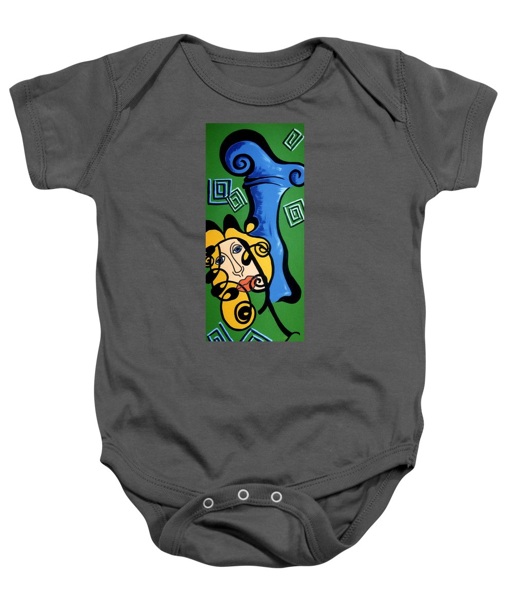 Baby Onesie featuring the painting Picasso Influence With A Greek Twist by Catt Kyriacou