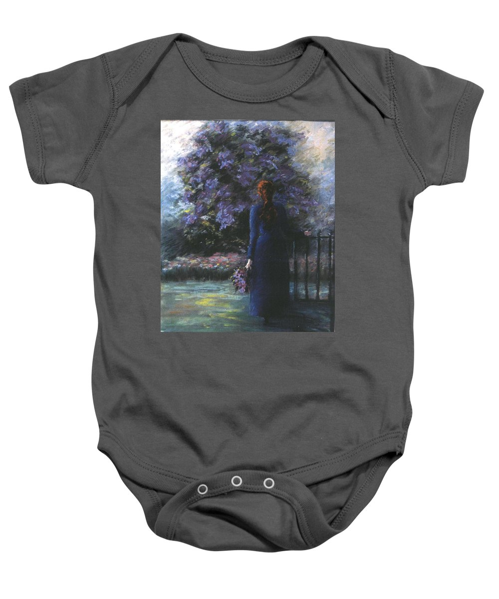 Woman Lilac Flower Tree Baby Onesie featuring the pastel Picking Lilacs by Roger Snook