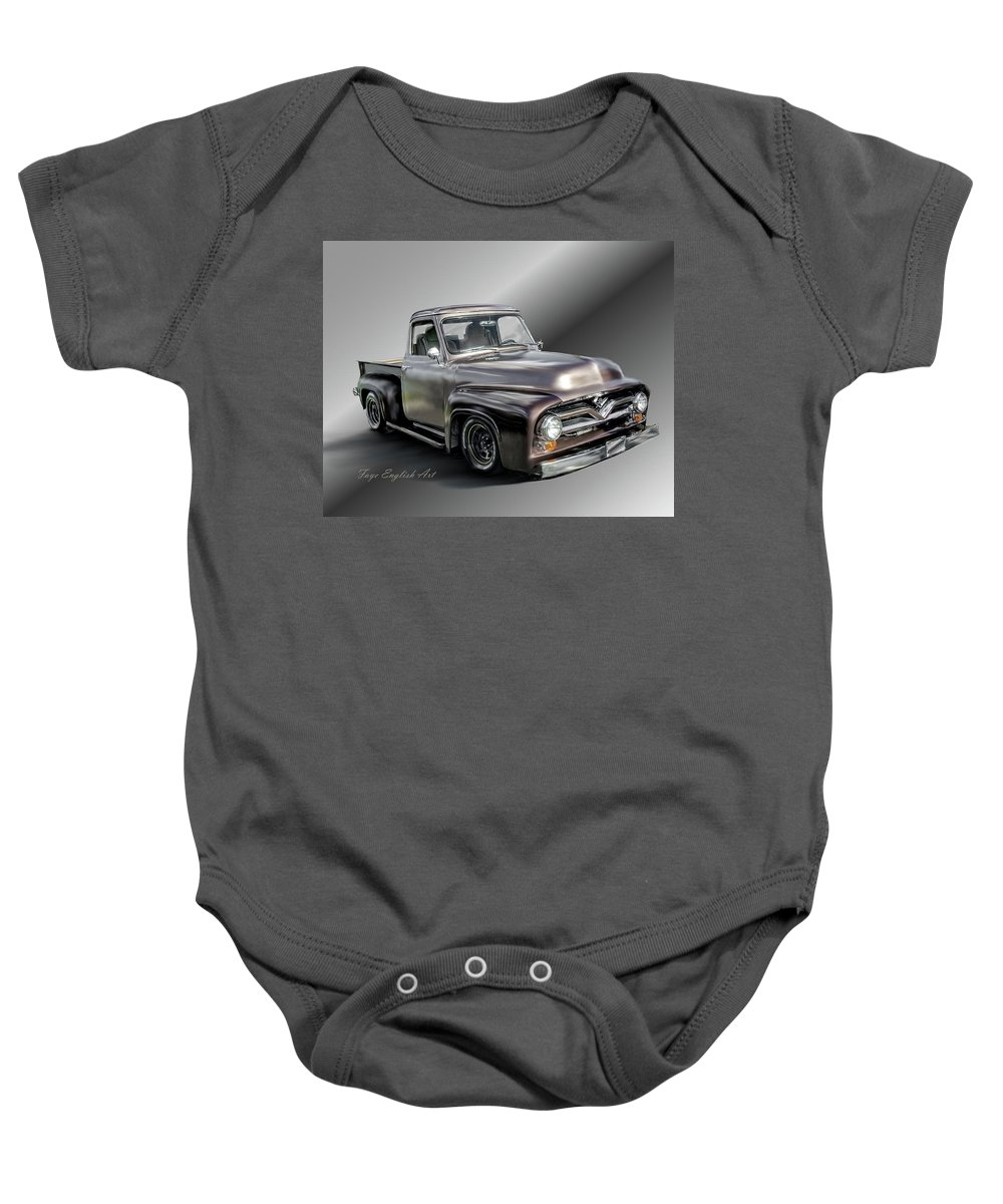 Pickup Baby Onesie featuring the digital art Pickup Named Penny by Faye English