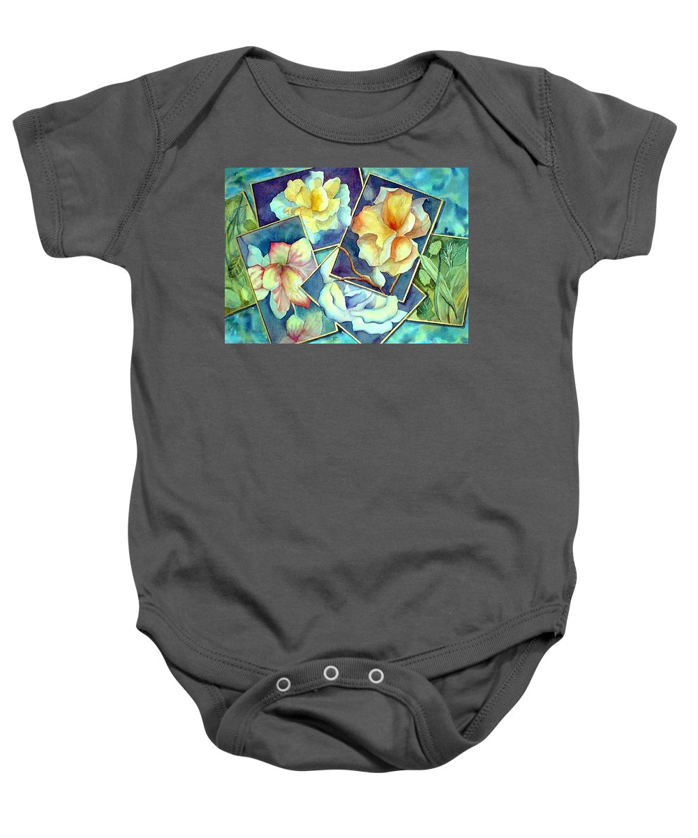 Watercolor Baby Onesie featuring the painting Pictures At An Exhibition by Debbie Lewis