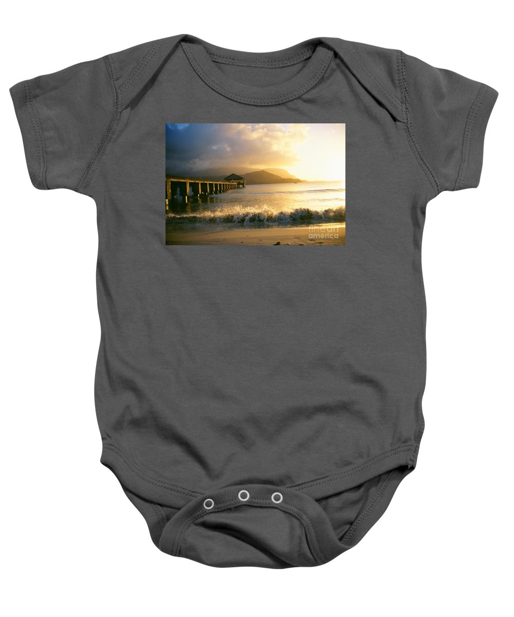 Afternoon Baby Onesie featuring the photograph Pier At Sunset by Peter French - Printscapes