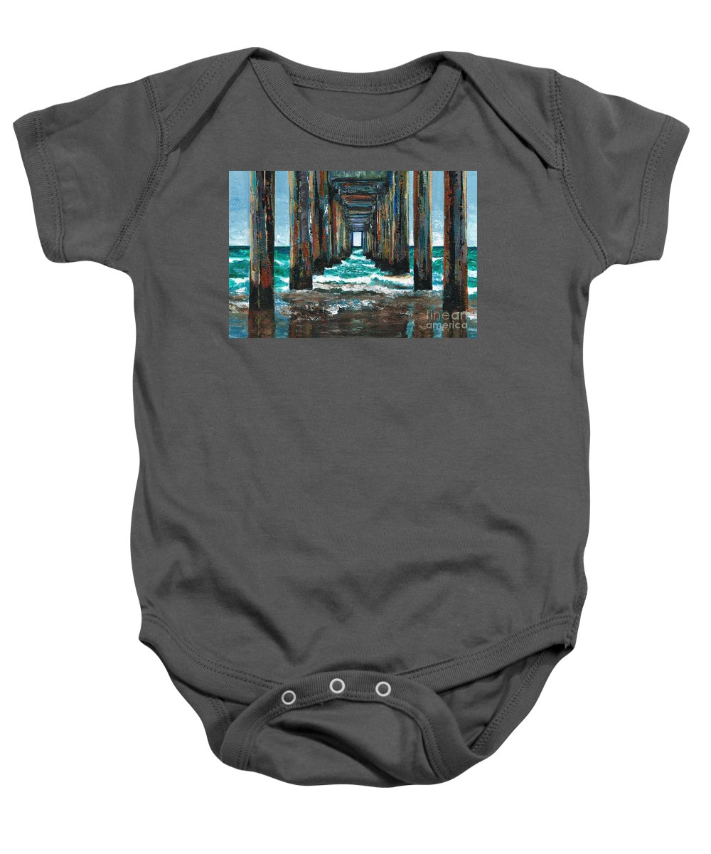 Ocean Baby Onesie featuring the painting Pier One by Frances Marino