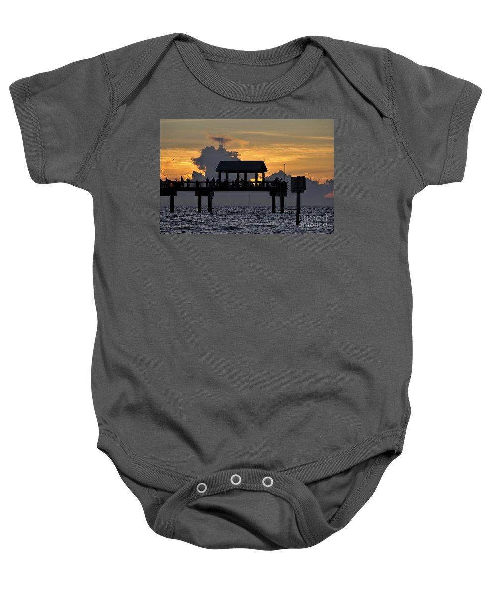Pier.clearwater Florida Baby Onesie featuring the photograph Pier Sunset by David Lee Thompson
