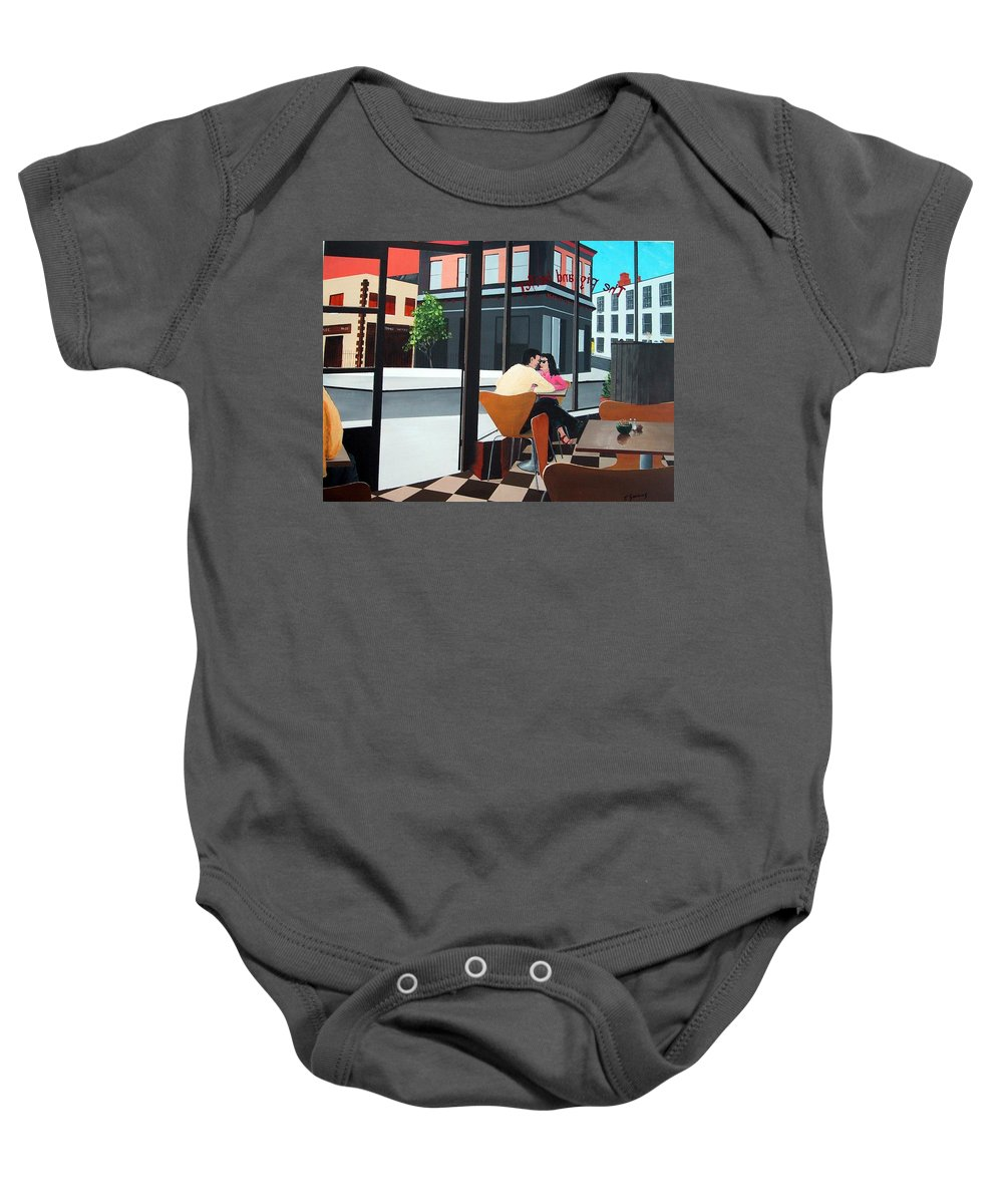 Pig Baby Onesie featuring the painting Pig And Heifer by Tony Gunning