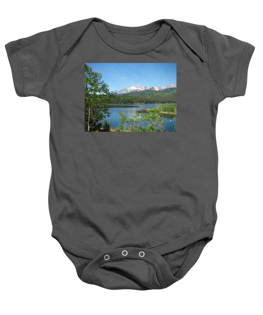 Colorado Baby Onesie featuring the photograph Pike's Peak by Anita Burgermeister
