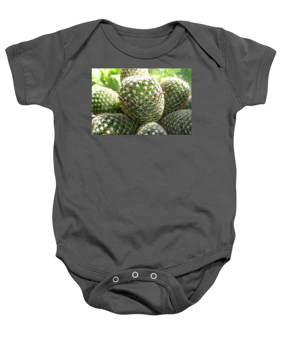Cactus Baby Onesie featuring the photograph Pincushion Cactus by Susan Baker