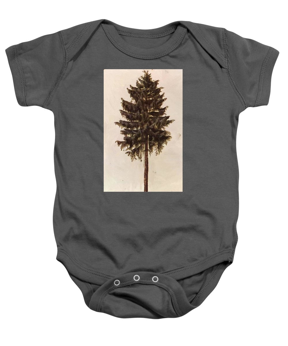 Pine Baby Onesie featuring the painting Pine 1497 by Durer Albrecht