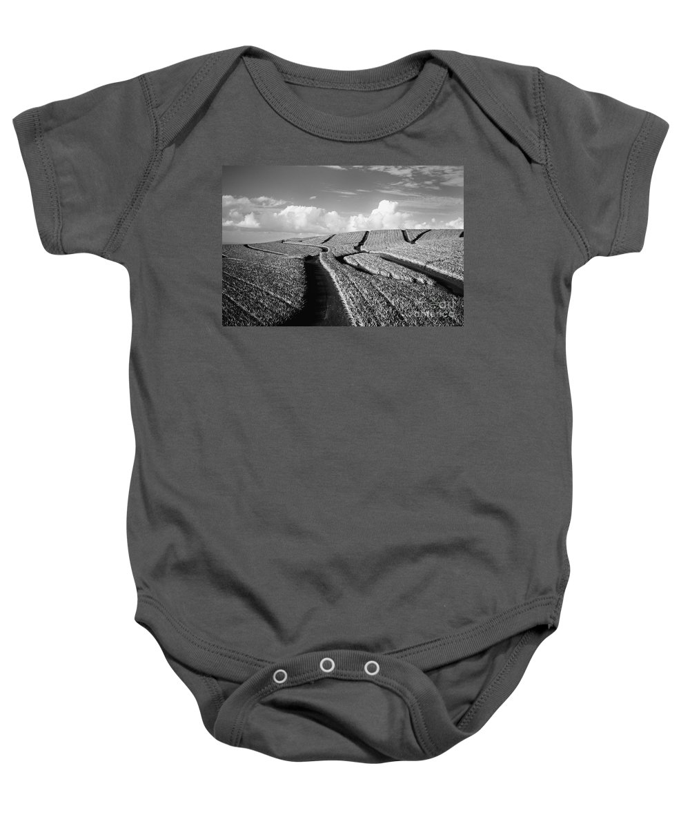 Abstract Baby Onesie featuring the photograph Pineapple Field - Bw by Dana Edmunds - Printscapes
