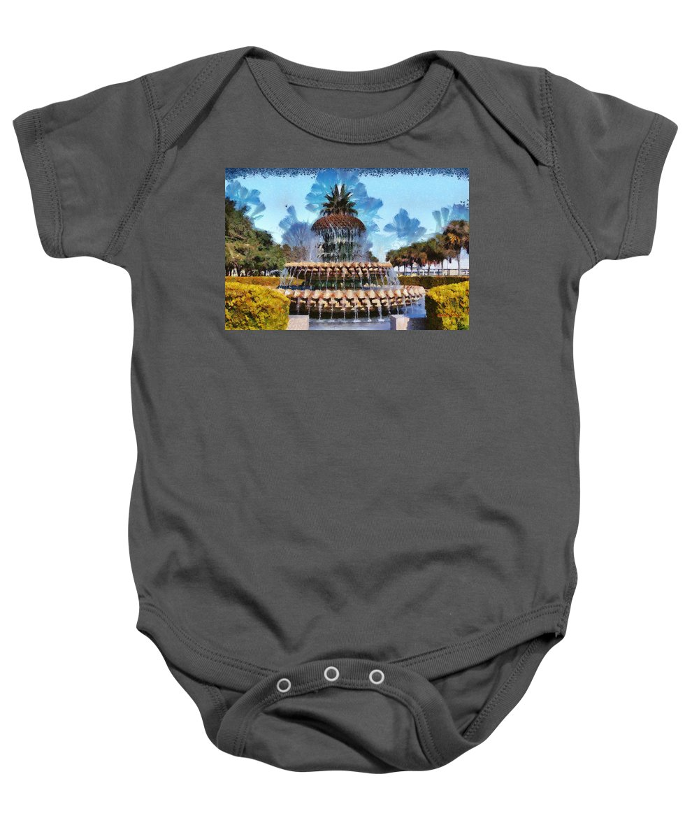 Pineapple Baby Onesie featuring the painting Pineapple Fountain by Lynne Jenkins