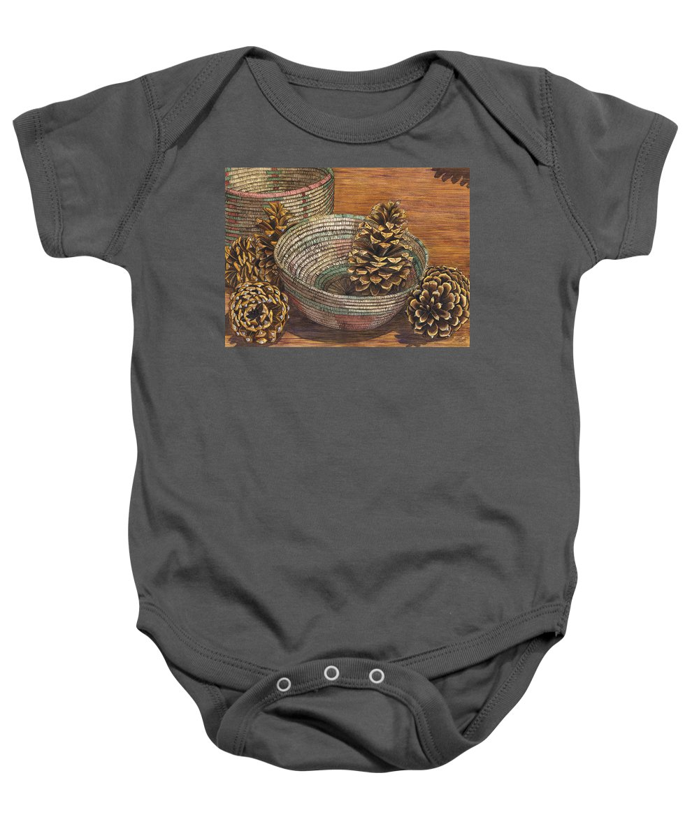 Pinecone Baby Onesie featuring the painting Pinecones by Catherine G McElroy