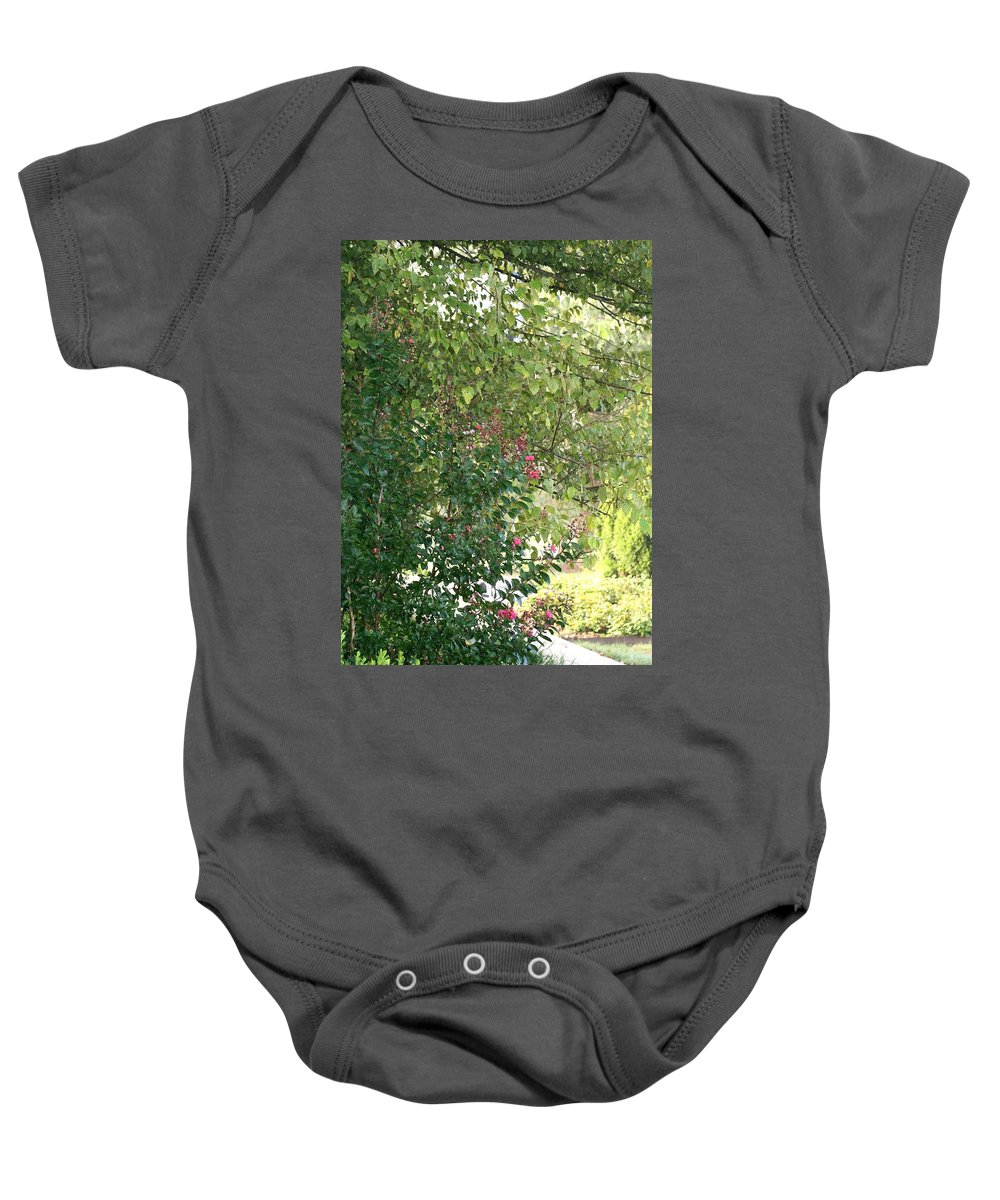 Path Baby Onesie featuring the photograph Pink and Green Path by Nadine Rippelmeyer