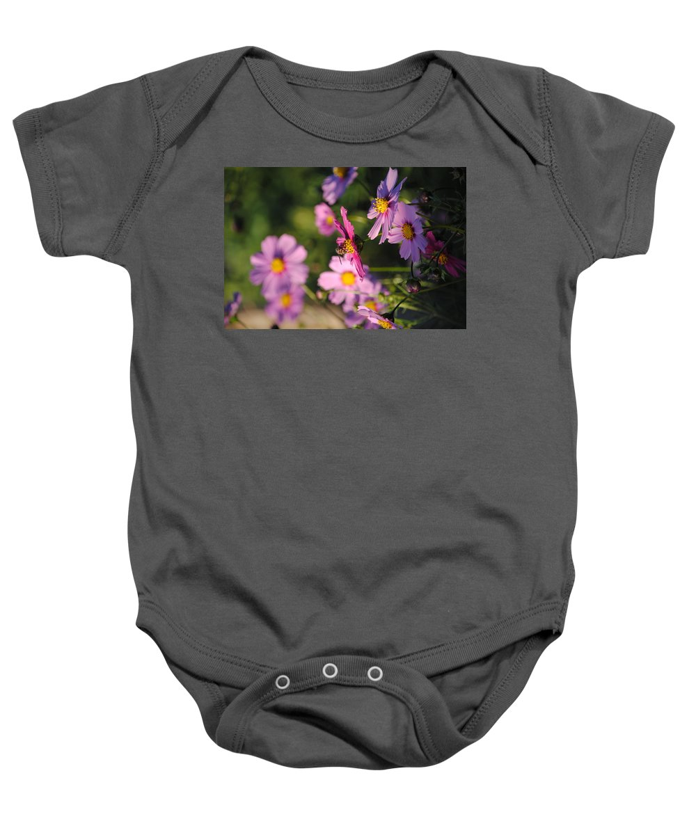 Cosmos Baby Onesie featuring the photograph Pink Cosmos by Terry Crowley