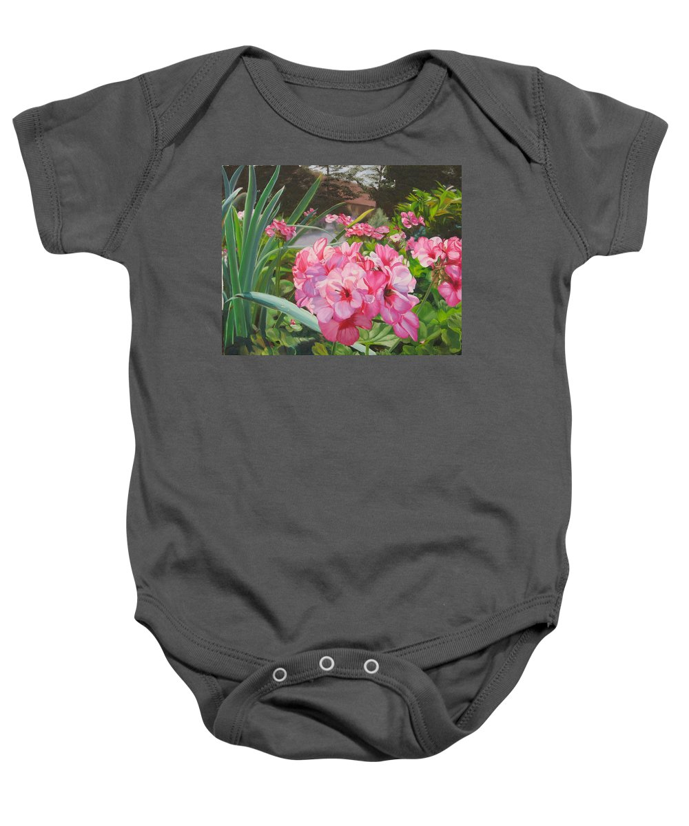 Pink Geraniums Baby Onesie featuring the painting Pink Geraniums by Lea Novak