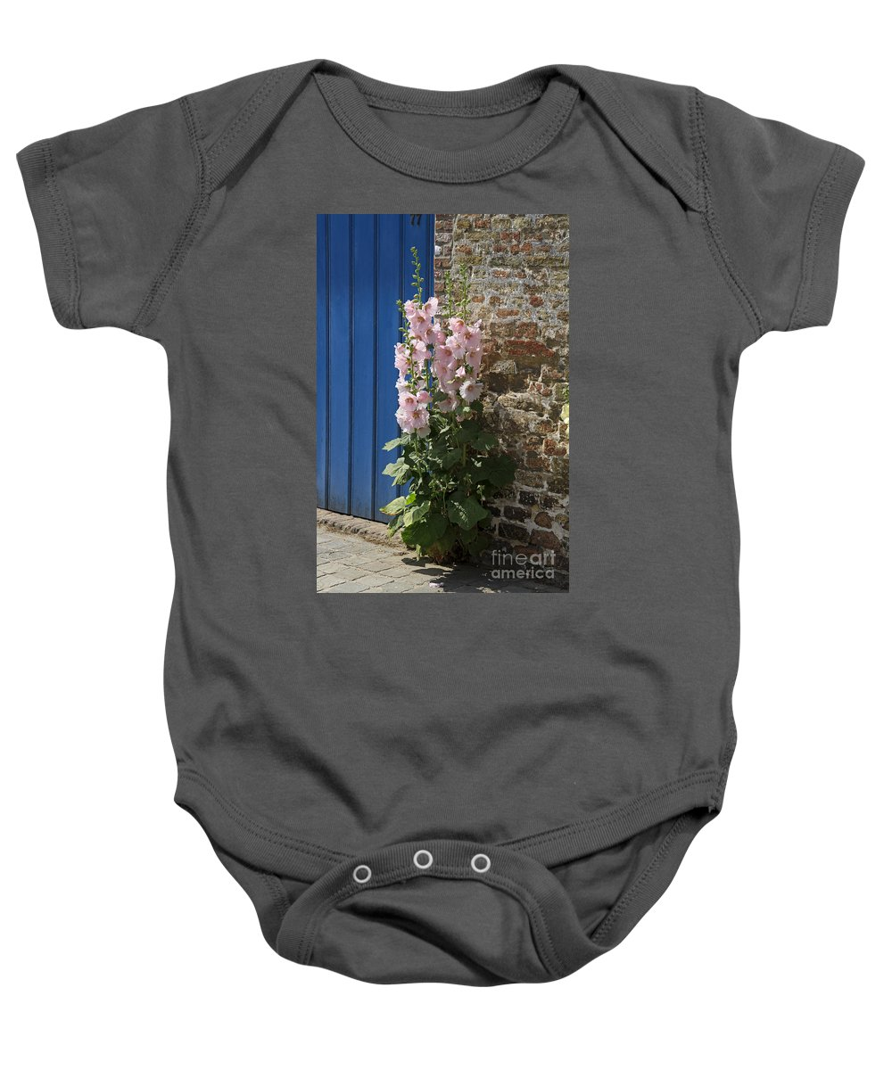 Pink Baby Onesie featuring the photograph Pink Hollyhocks Growing From A Crack In The Pavement by Louise Heusinkveld