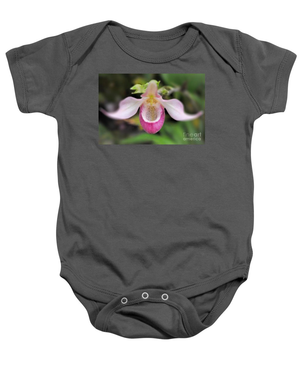 Lady Baby Onesie featuring the photograph Pink Lady Slipper by Nikki Vig