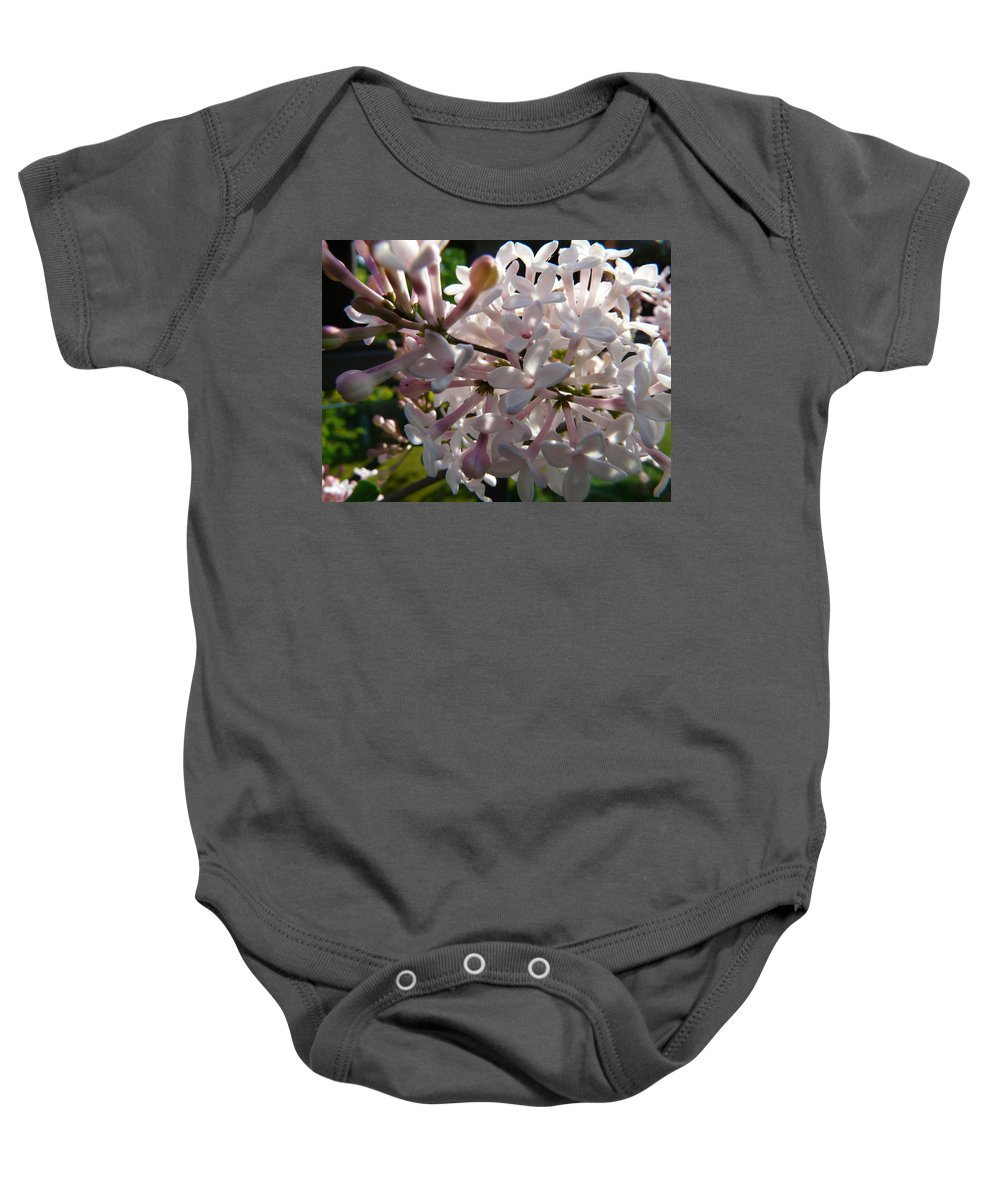 Flower Baby Onesie featuring the photograph Pink Lilac Blossom by Valerie Ornstein