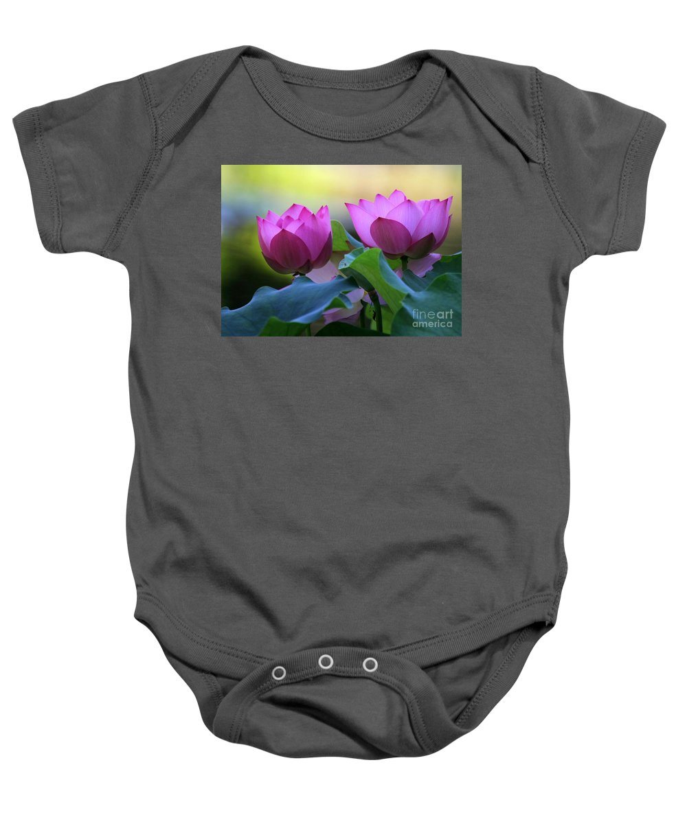 Lotus Baby Onesie featuring the photograph Pink Lotus by Sabrina L Ryan