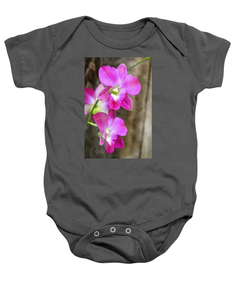 Orchids Baby Onesie featuring the photograph Pink Orchid Duo by Deborah Benoit