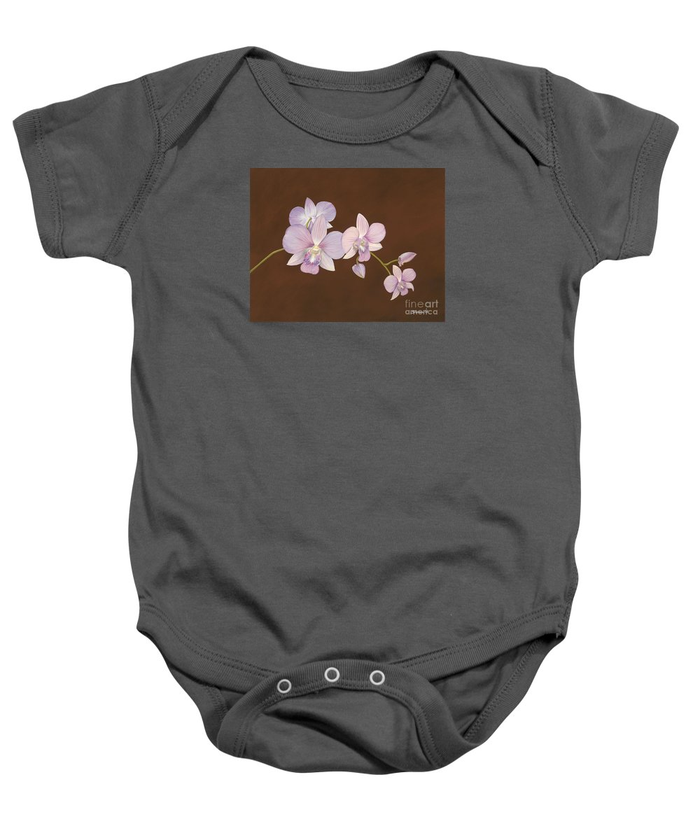 Orchid Baby Onesie featuring the painting Pink Orchids by Shawn Stallings