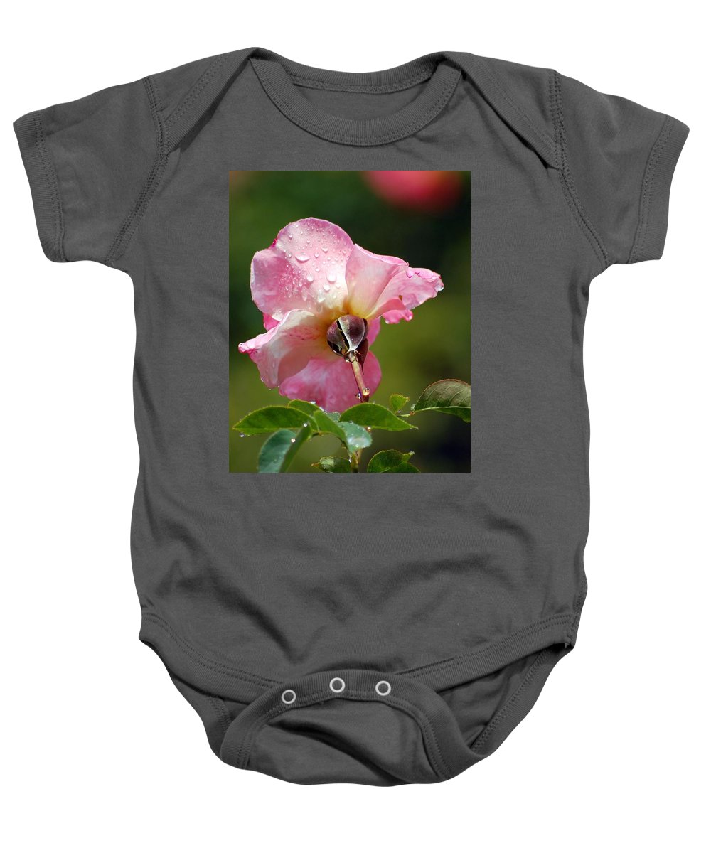 Rose Baby Onesie featuring the photograph Pink Rose In The Rain 2 by Amy Fose