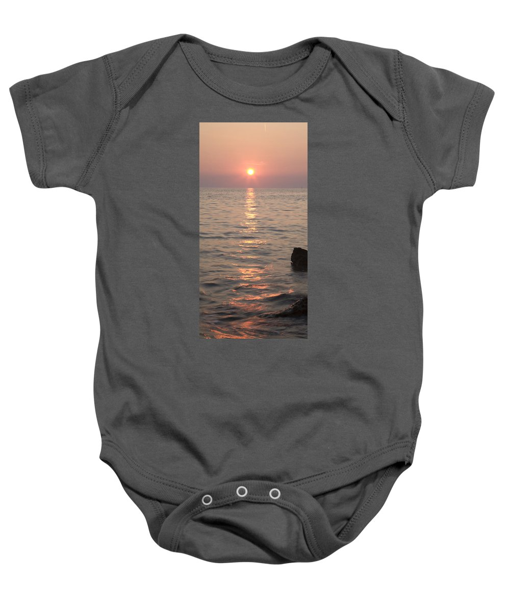 Sea Baby Onesie featuring the photograph Pink Sunset Over The Istrian Peninsula by Ian Middleton