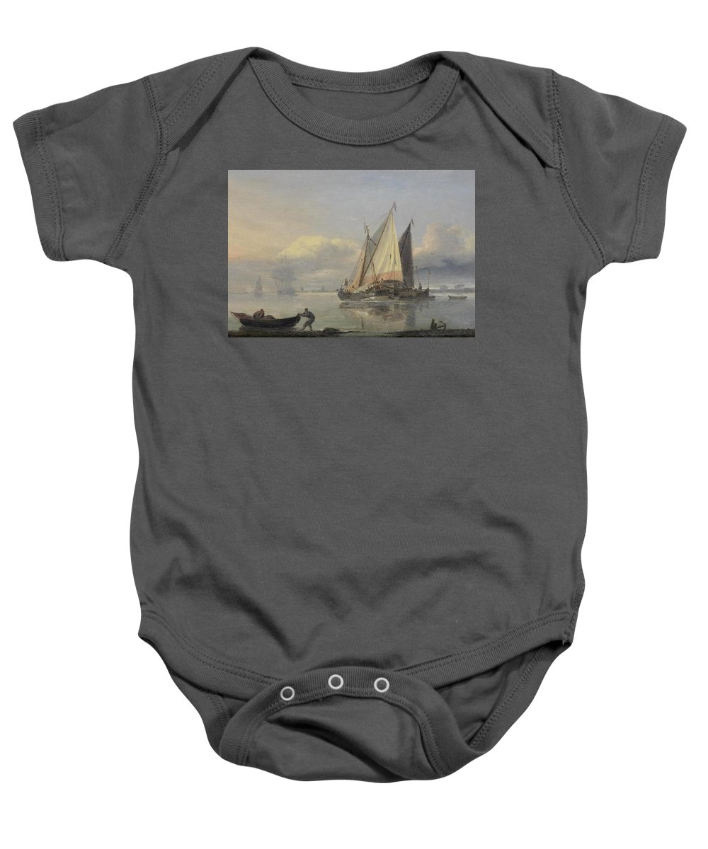 Thomas Luny Baby Onesie featuring the painting Pinks In An Estuary by Thomas Luny