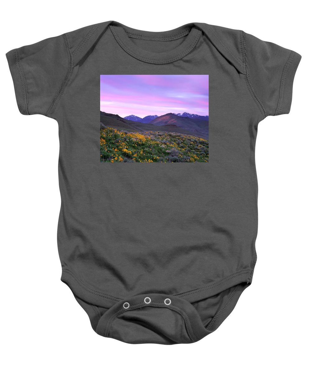 Pioneer Mountains Spring Baby Onesie featuring the photograph Pioneer Mountain Sunset by Leland D Howard