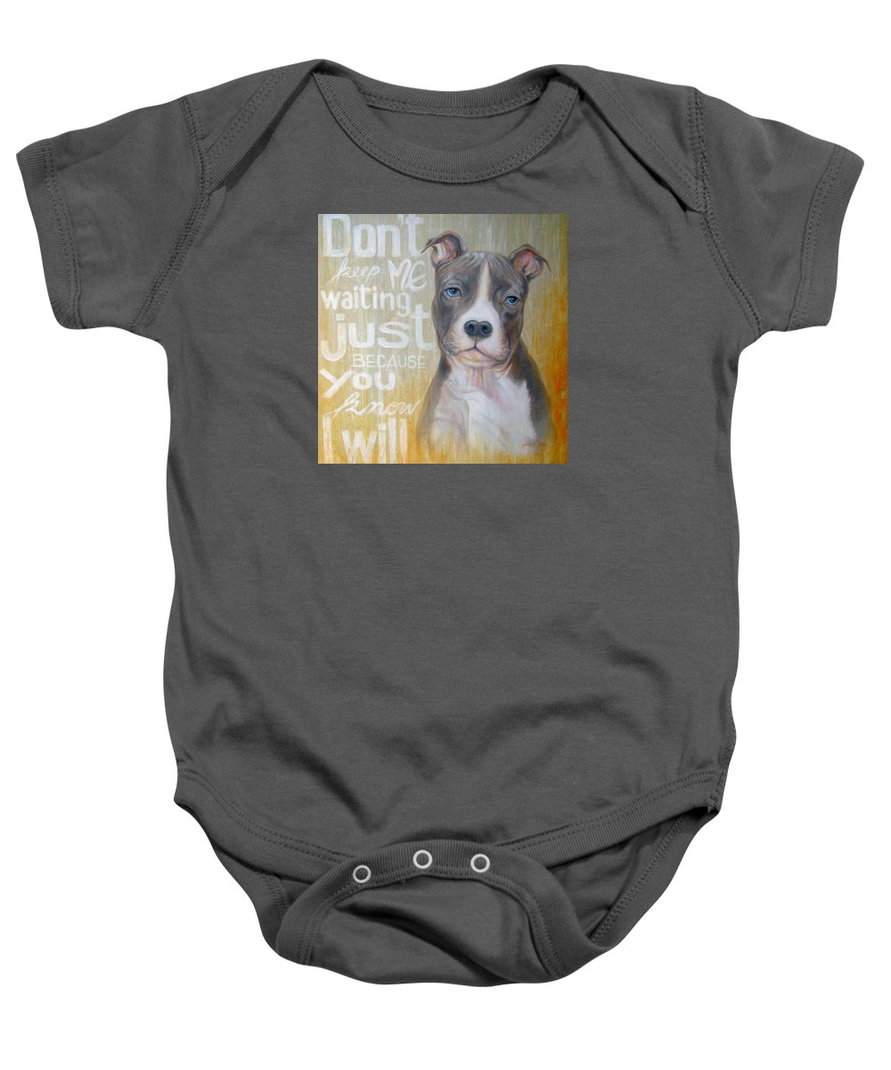 Original Painting Baby Onesie featuring the painting Pit Bull by Jack No War