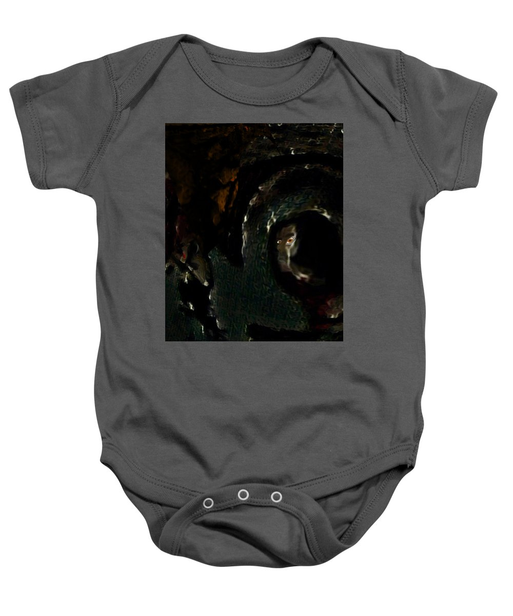 Deep Baby Onesie featuring the drawing Piteye by Marcia Kaye Rogers