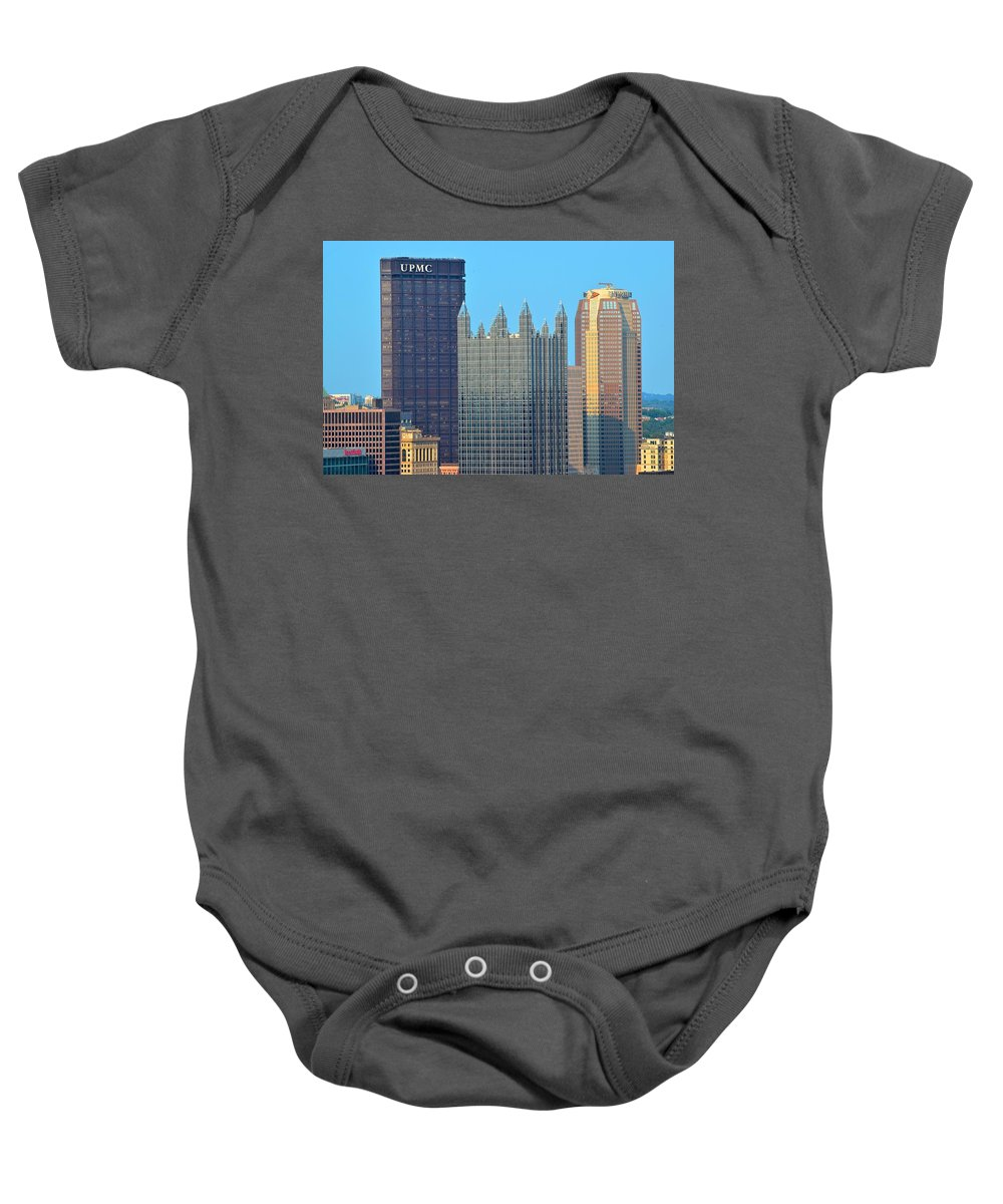 Pittsburgh Baby Onesie featuring the photograph Pittsburghs Big Three by Frozen in Time Fine Art Photography