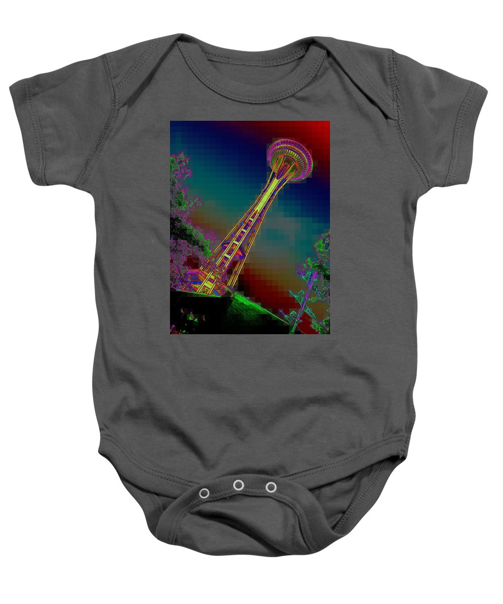 Seattle Baby Onesie featuring the photograph Pixel Needle by Tim Allen