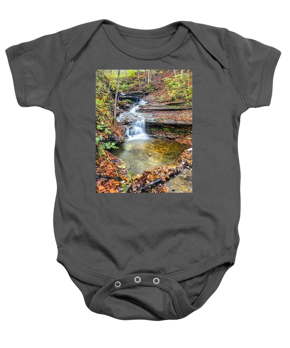 New York Baby Onesie featuring the photograph Pixley Falls State Park Lesser Falls by Karen Jorstad