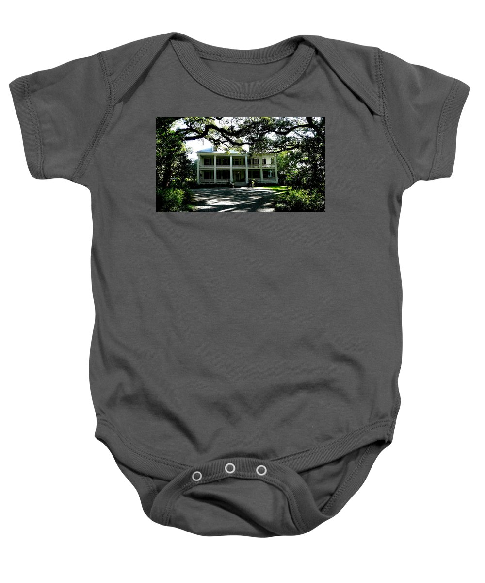 Louisiana Plantation Live Oaks Baby Onesie featuring the photograph Plantation Framed By Live Oaks by Angie Covey