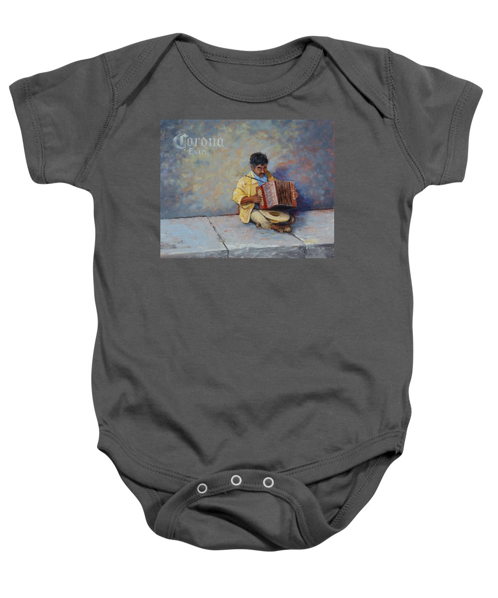 Mexico Baby Onesie featuring the painting Playing For Pesos by Jerry McElroy