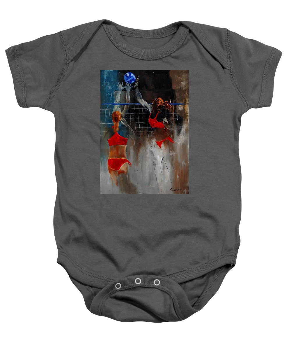 Sport Baby Onesie featuring the painting Playing Volley by Pol Ledent