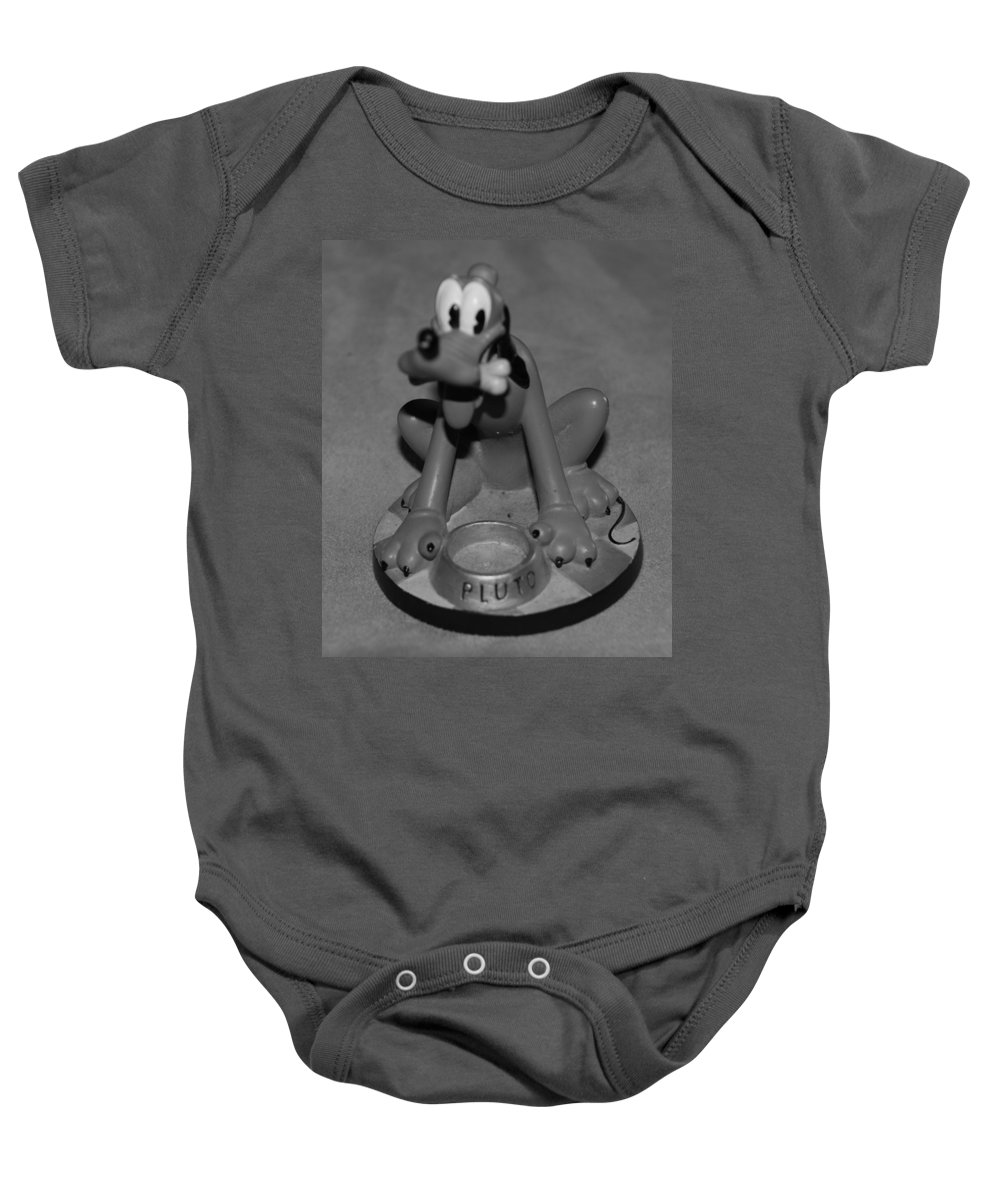 Black And White Baby Onesie featuring the photograph Pluto by Rob Hans