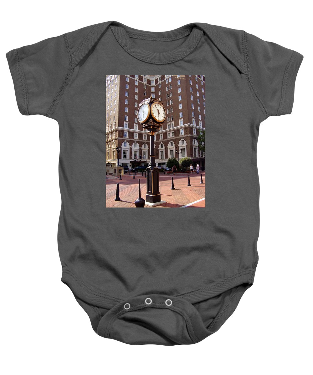 Poinsett Hotel Baby Onesie featuring the photograph Poinsett Hotel Greeenville Sc by Flavia Westerwelle