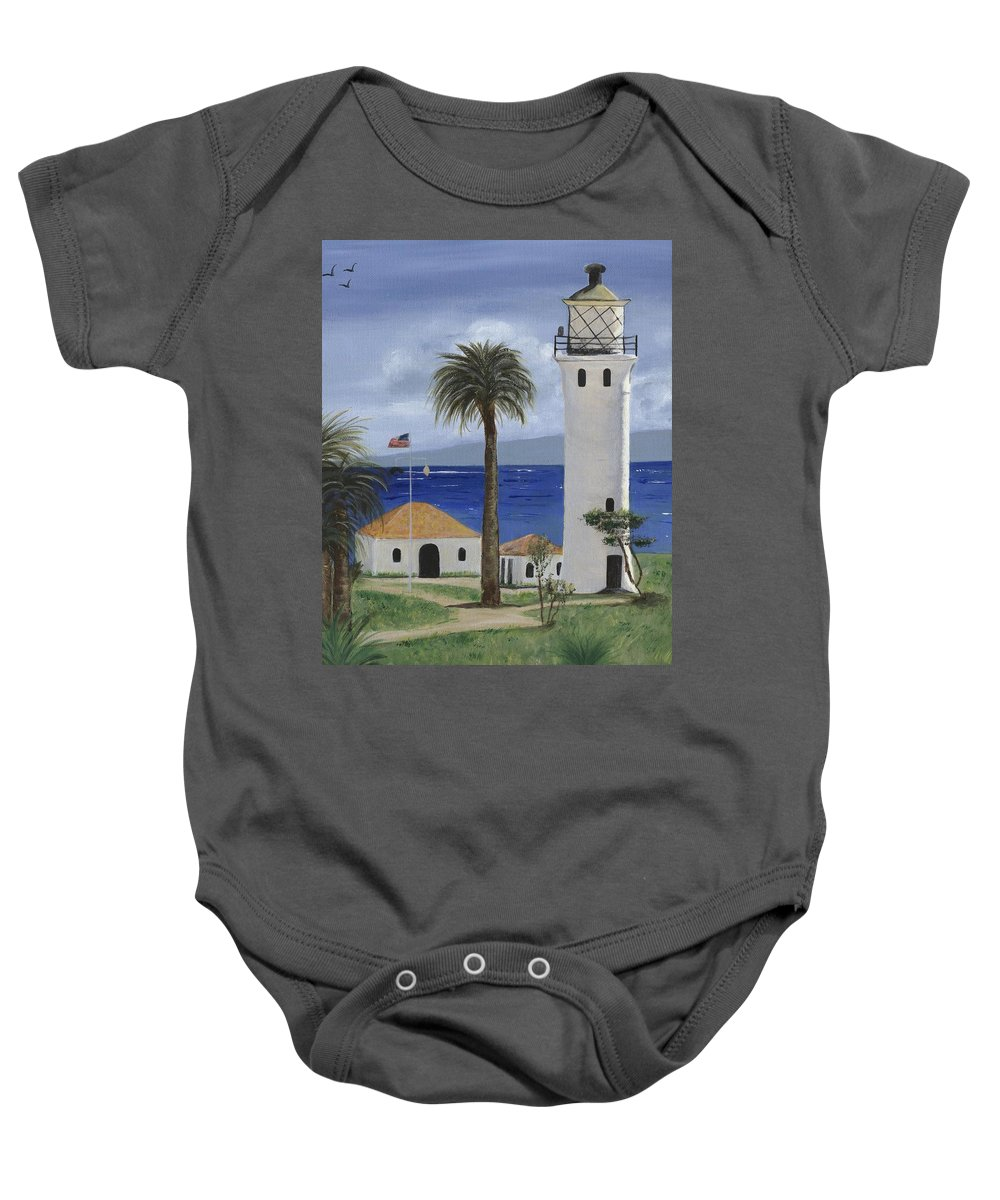California Baby Onesie featuring the painting Point Vicente Lighthouse by Jamie Frier