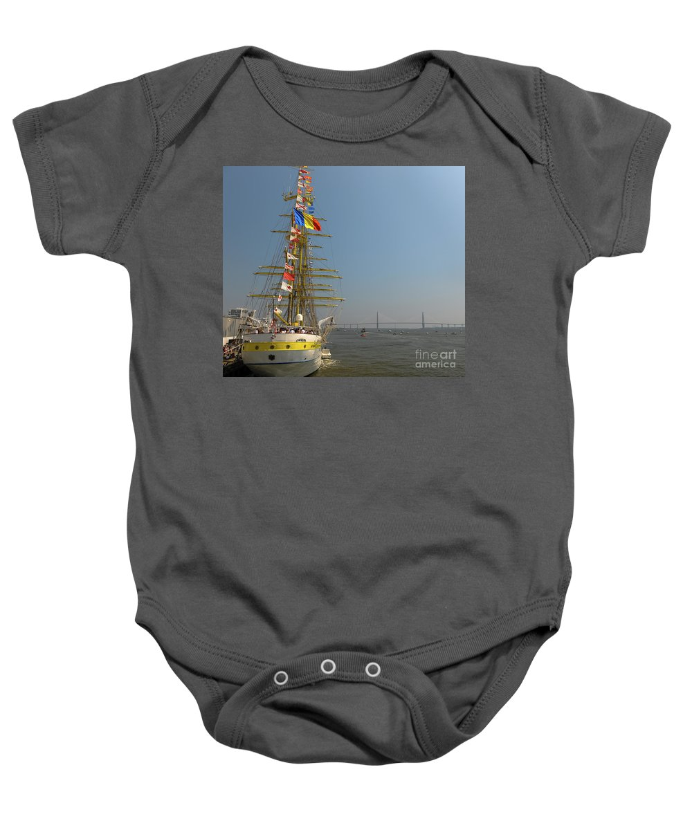 Tall Ship Baby Onesie featuring the photograph Pointing North by Dale Powell