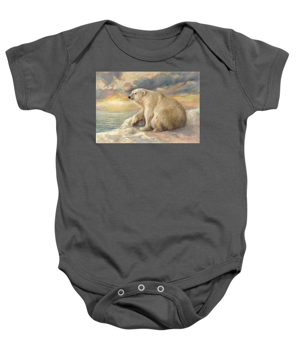Polar Bear Baby Onesie featuring the painting Polar Bear Rests On The Ice - Arctic Alaska by Svitozar Nenyuk