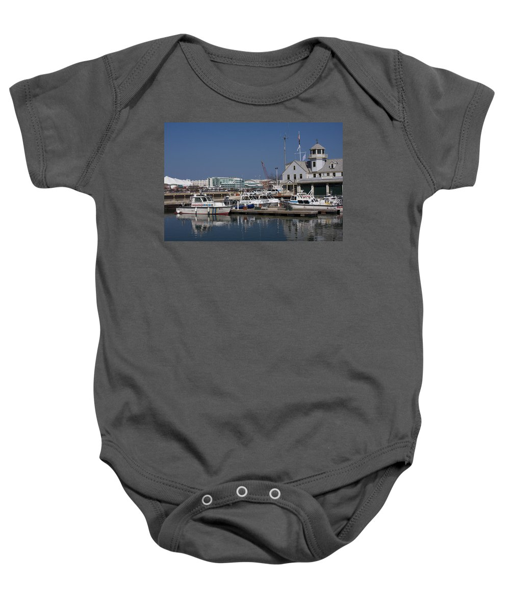 Chicago Windy City Police Station Lake Michigan Water Blue Sky Water Baby Onesie featuring the photograph Police Station by Andrei Shliakhau