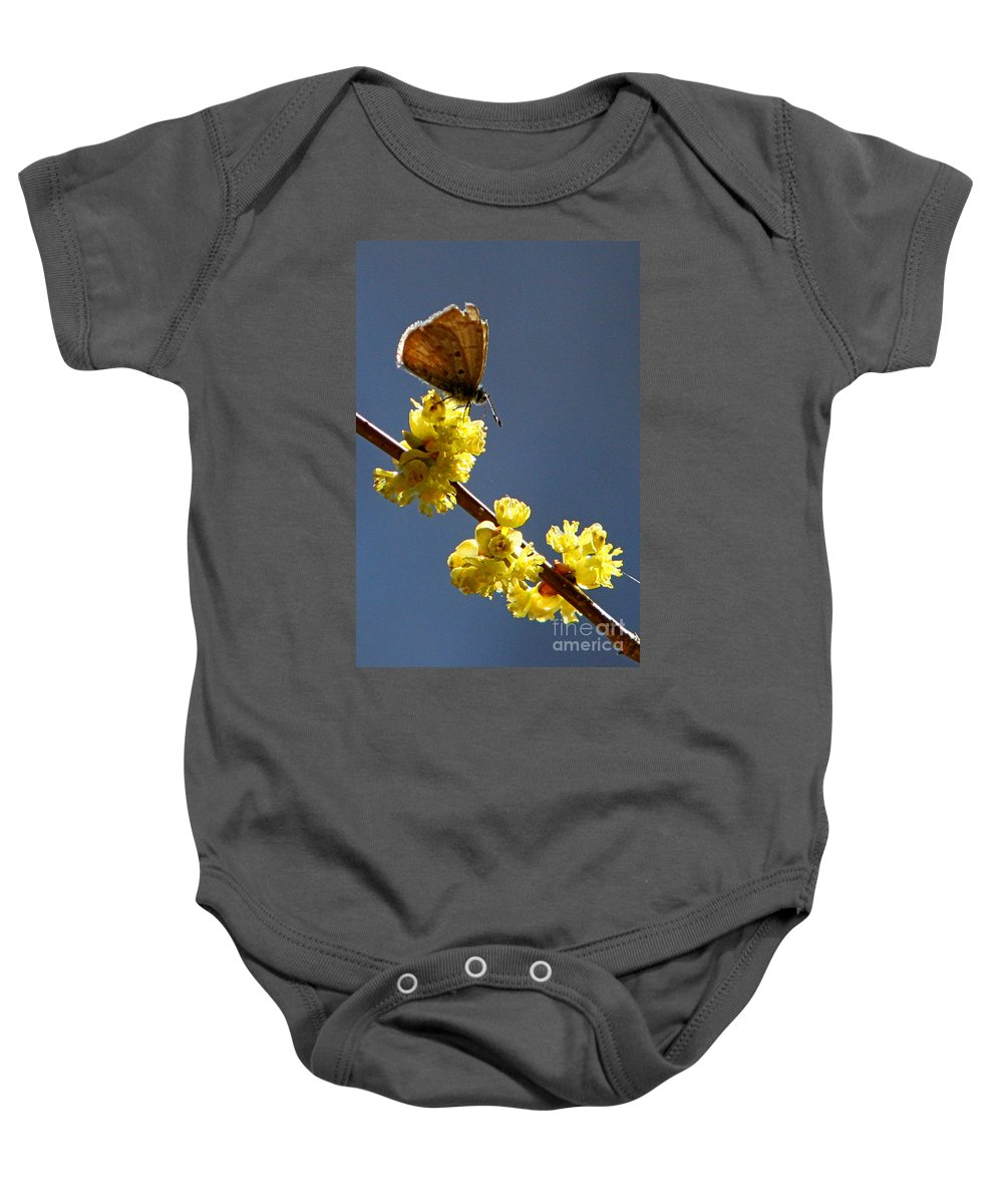Nature Baby Onesie featuring the photograph Pollen Pickup by Marle Nopardi