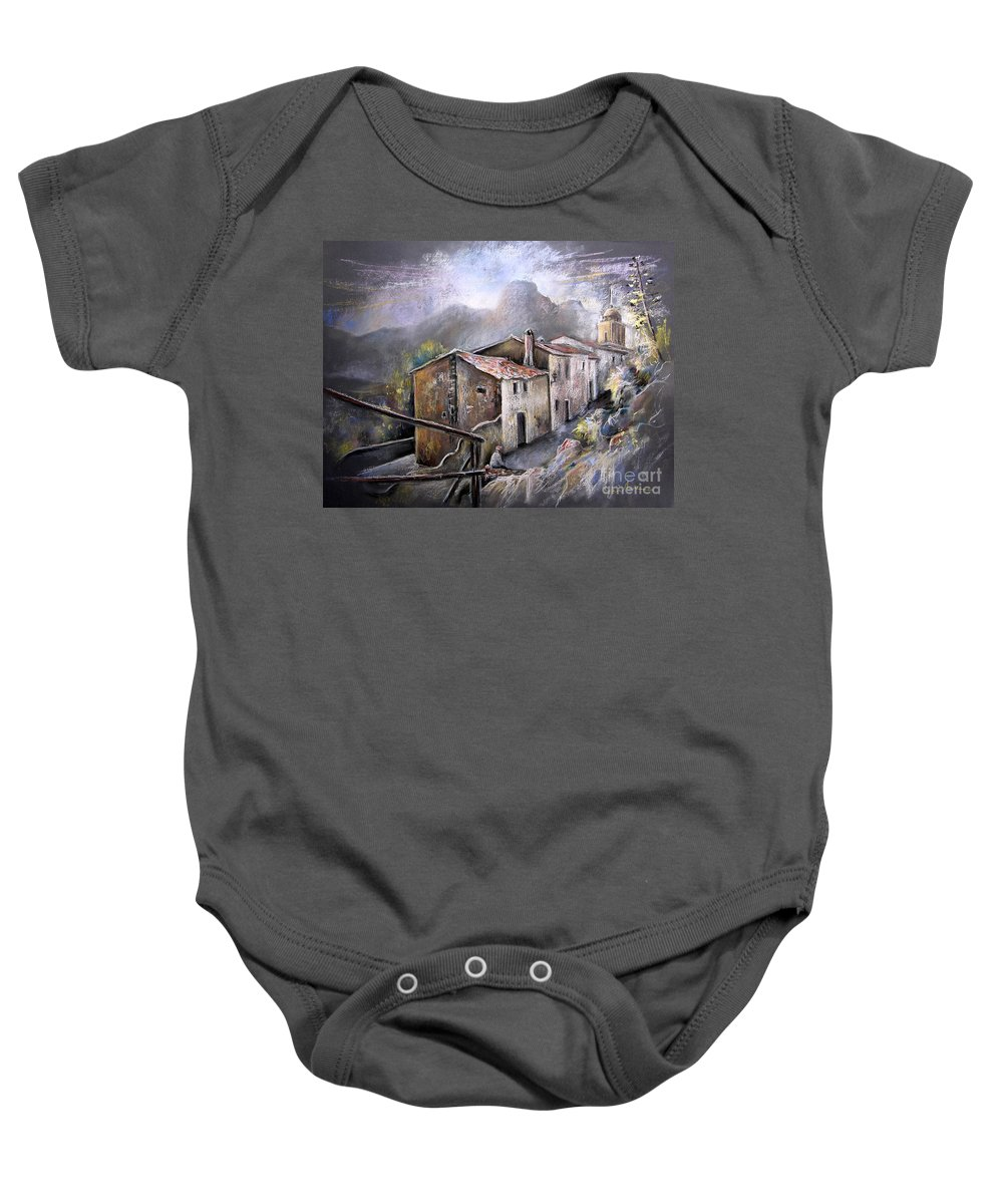 Pastel Painting Baby Onesie featuring the painting Polop De La Marina 03 by Miki De Goodaboom
