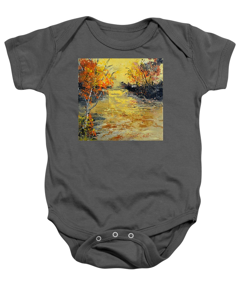 Landscape Baby Onesie featuring the painting Pond 556180 by Pol Ledent