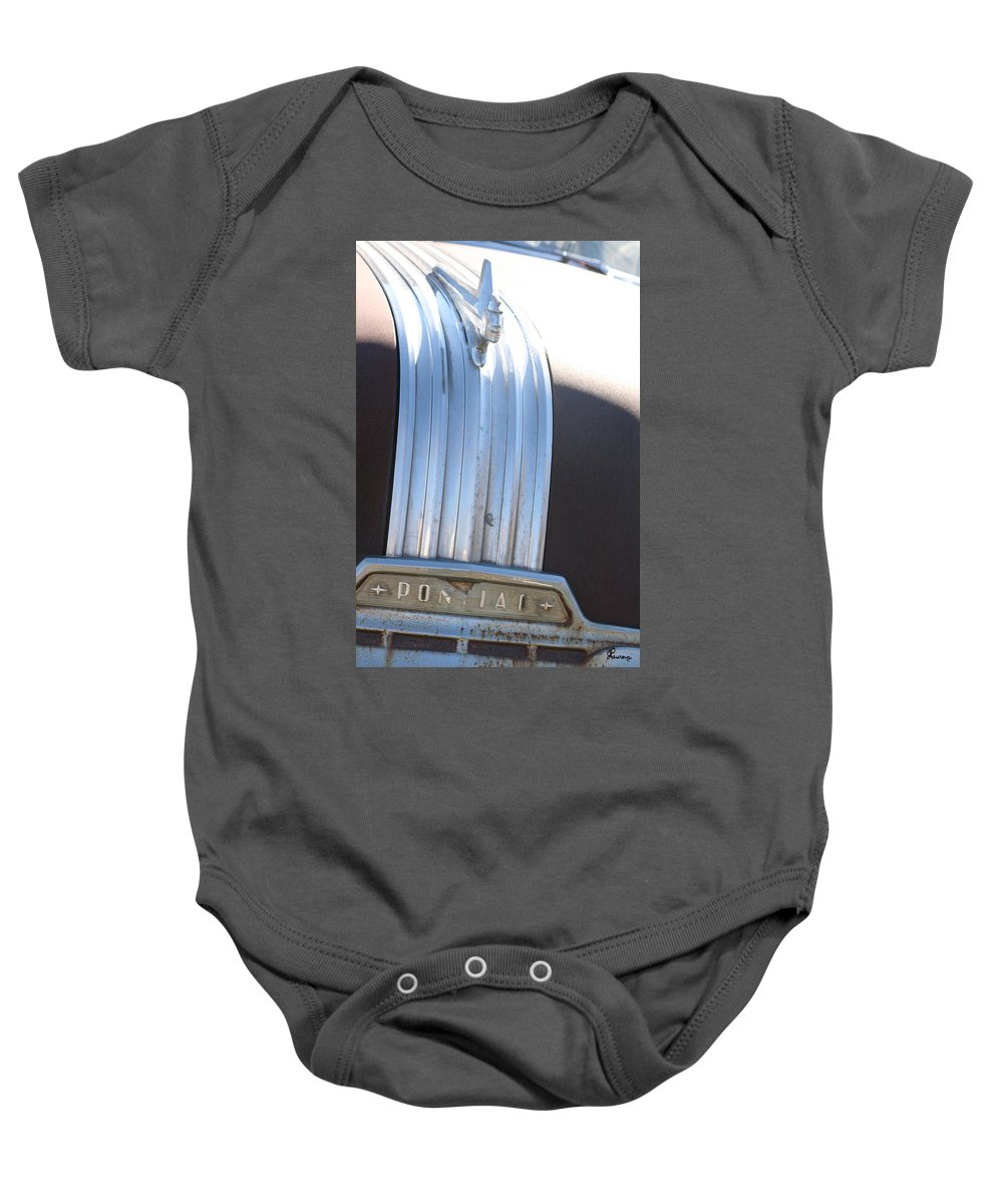 Old Antique Pontiac Car 1950s Hood Ornament Vehicle Baby Onesie featuring the photograph Pontiac by Andrea Lawrence