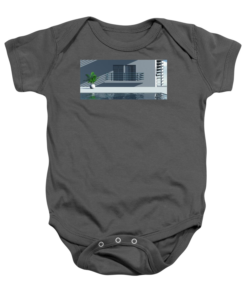 Abstract Baby Onesie featuring the digital art Pool Side by Richard Rizzo
