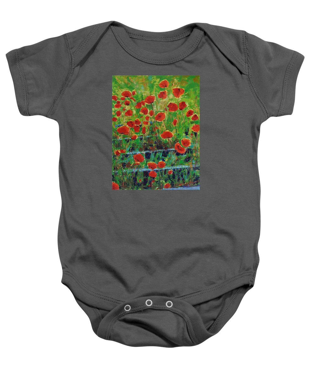 Poppies Baby Onesie featuring the painting Poppies And Traverses 1 by Iliyan Bozhanov