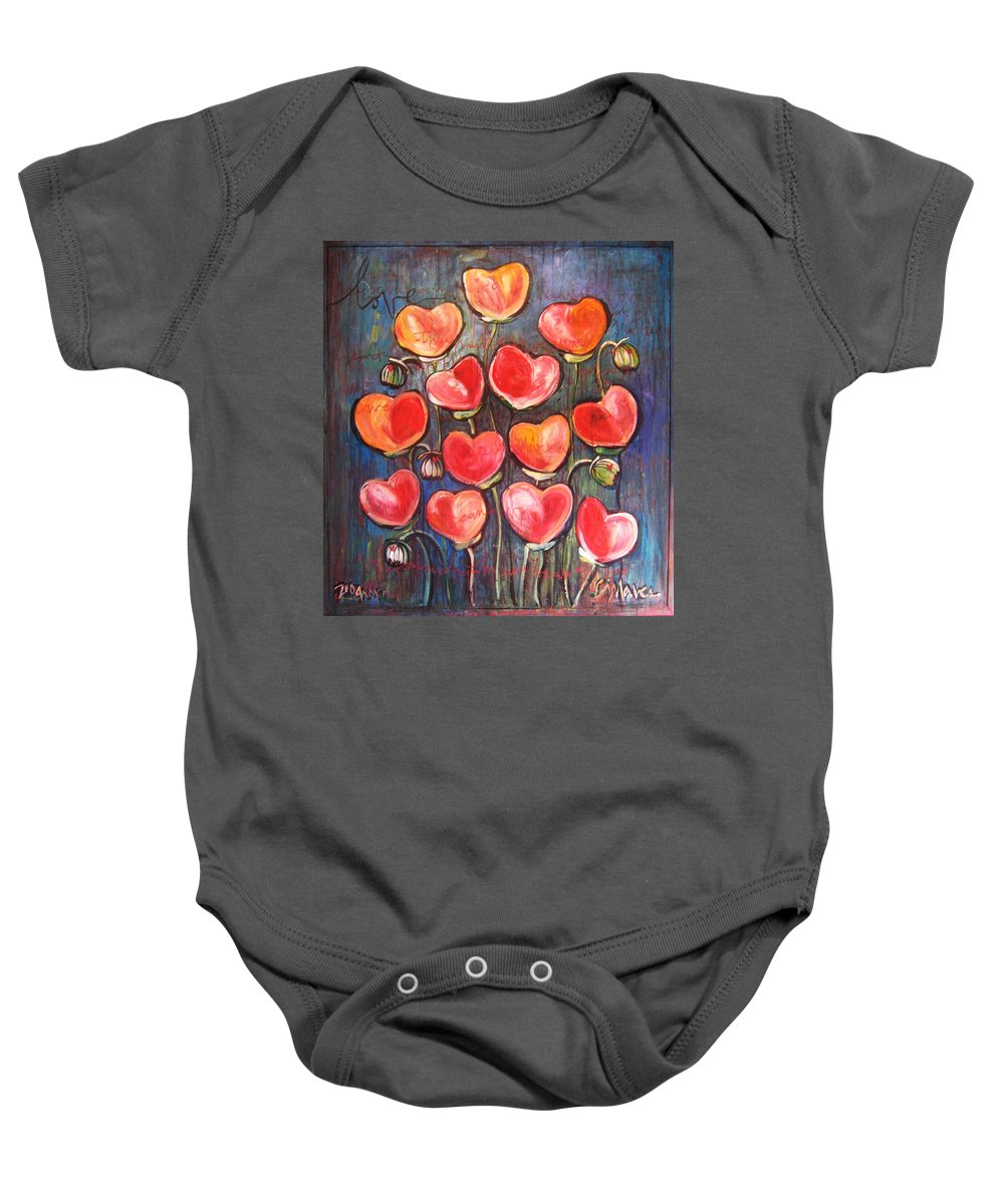 Poppies Baby Onesie featuring the painting Poppies Are Hearts Of Love We Can Give Away by Laurie Maves ART