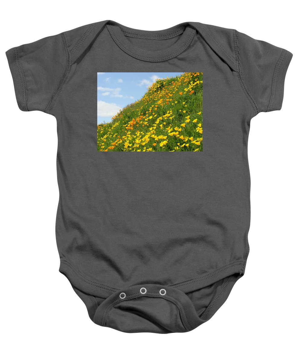 �poppies Artwork� Baby Onesie featuring the photograph Poppies Hillside Meadow 17 Blue Sky White Clouds Giclee Art Prints Baslee Troutman by Baslee Troutman
